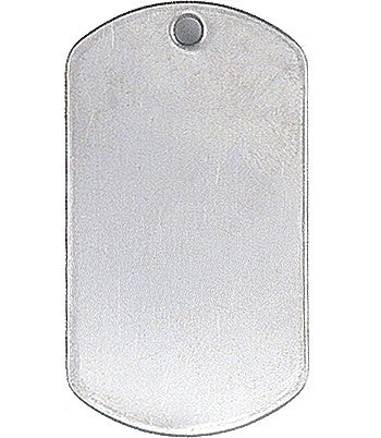 Silver - Military GI Style Stainless Steel Dog Tag with Shiny Finish
