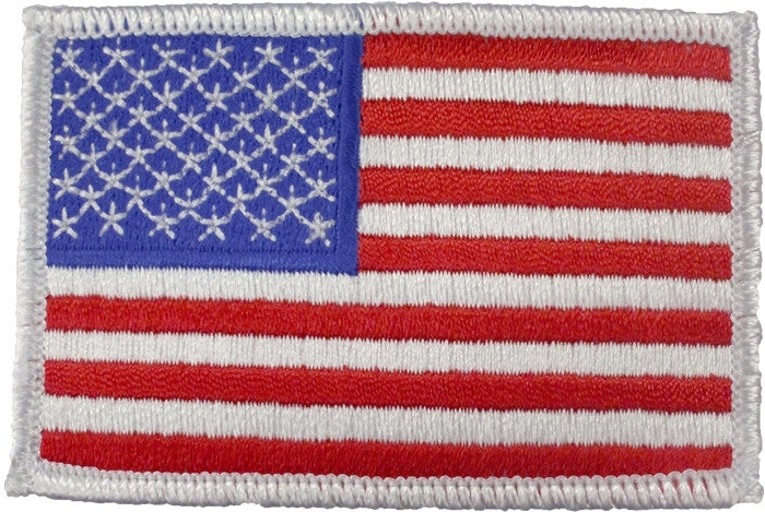 Red White Blue - US Flag Sew On Patch with White Border