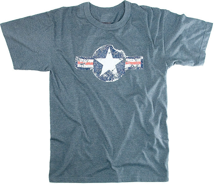 Blue - Military Vintage T-Shirt with Army Air Corp Star Emblem