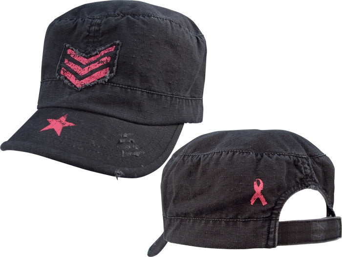 Black - Womens Adjustable Vintage Fatigue Cap - with Pink ''Breast Cancer'' Ribbon