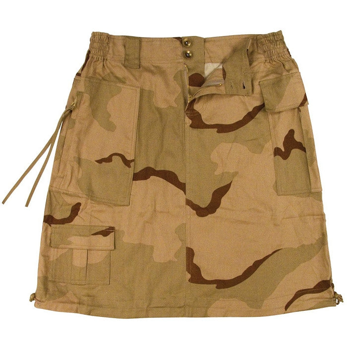Tri-Color Desert Camouflage - Womens Knee Length Skirt