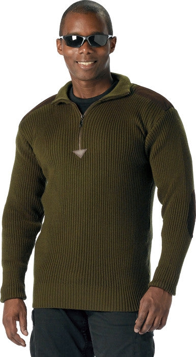 Olive Drab - Military Style Commando Sweater with Zipper - Acrylic