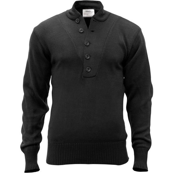 Black - 5-Button Military Sweater - Acrylic