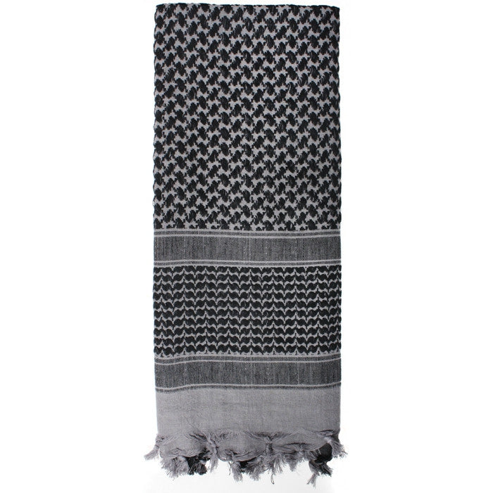 Grey   Black - Shemagh Tactical Desert Scarf