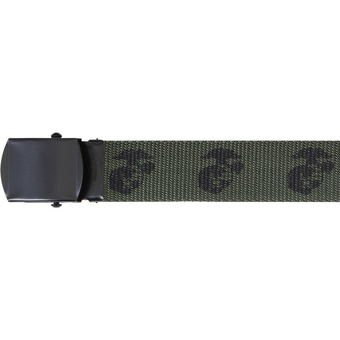 Olive Drab - Military Globe & Anchor Web Belt - Black Buckle
