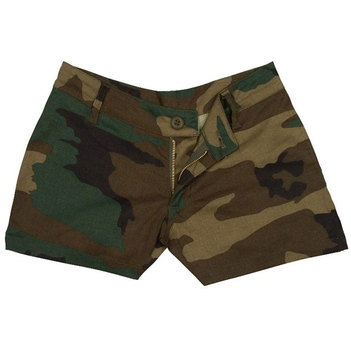 Woodland Camouflage - Womens Military Mini Shorts