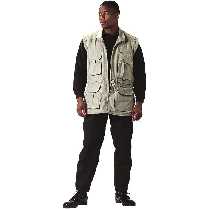 Khaki - Convertible Safari Outback Trailblazer Jacket and Vest