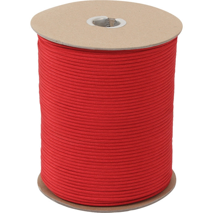 Red - Military Grade 550 LB Tested Type III Paracord Rope 1000' - Nylon USA Made