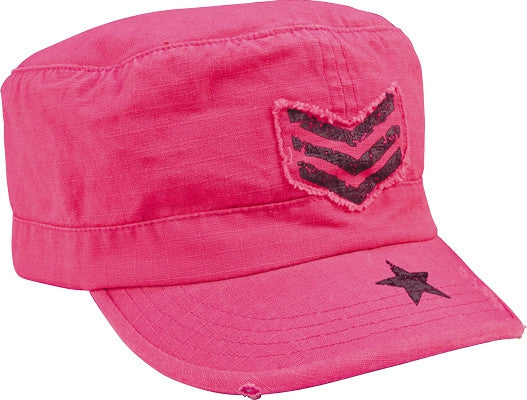 Pink - Womens Adjustable Vintage Fatigue Cap - with Black Sgt Stripes