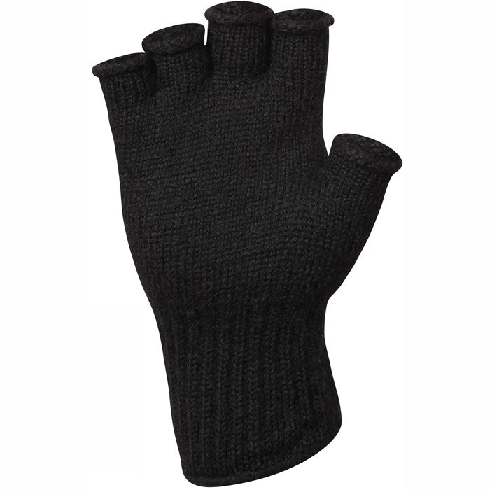 Black - Genuine GI Fingerless Gloves - Wool Nylon USA Made