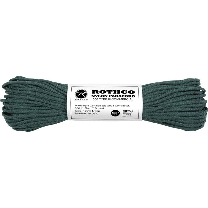Hunter Green - Military Grade 550 LB Tested Type III Paracord Rope 100' - Nylon USA Made