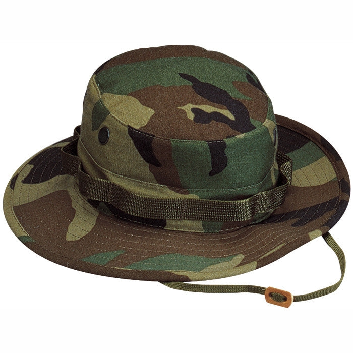 Woodland Camouflage - Military Boonie Hat - Polyester Cotton