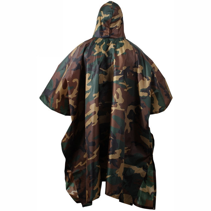 Woodland Camouflage - GI Enhanced Military Style Poncho - Polyester Ripstop