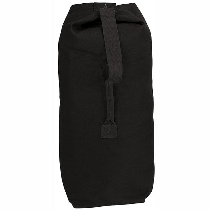Black - Military Top Load Duffle Bag with Shoulder Strap 21 in. x 36 in. - Cotton Canvas