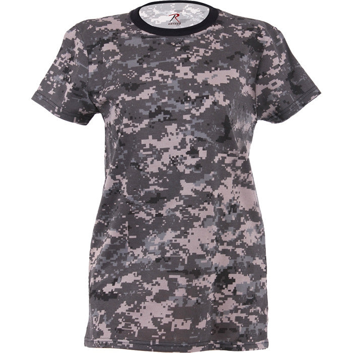 Subdued Urban Digital Camouflage - Womens Military Long T-Shirt