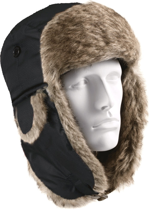 Black - Cold Weather Fur Flyers Hat with Fur Earflaps