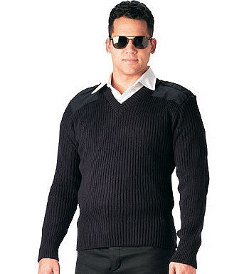 Black - Military GI Style V-Neck Commando Sweater - Acrylic