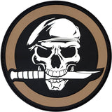 Black   Brown - Military Skull & Knife Morale Patch