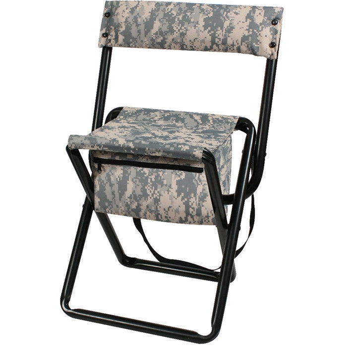 ACU Digital Camouflage - Military Style Deluxe Folding Stool with Back Pouch