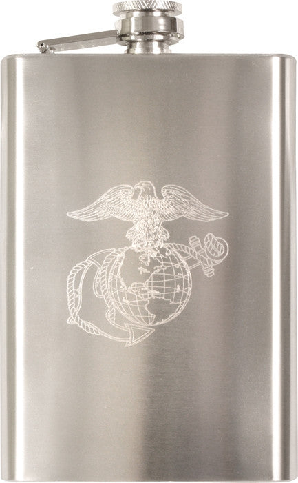 Silver - US Marine Corps Flask with USMC Engraved Emblem - Stainless Steel