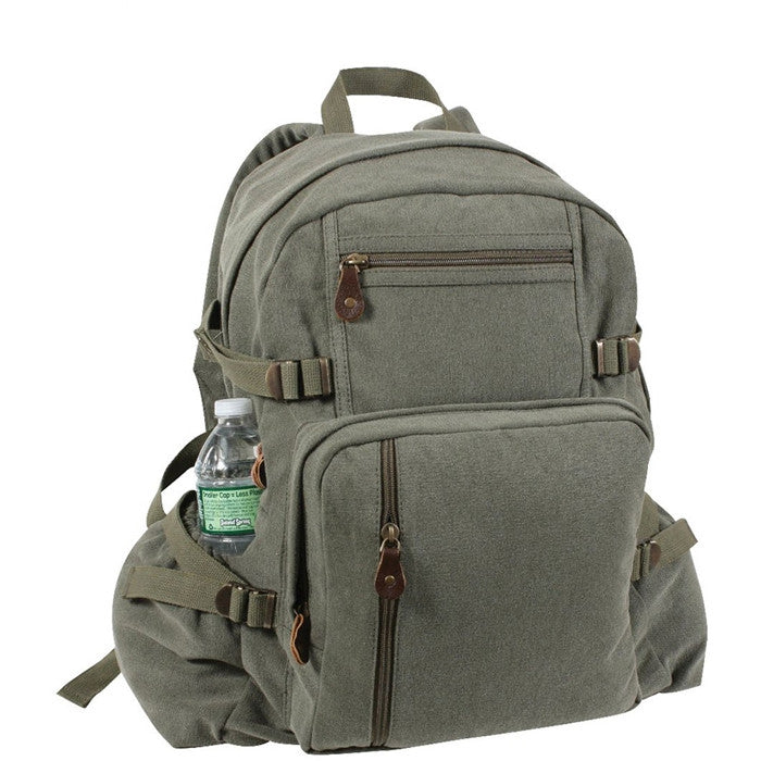 Olive Drab - Vintage Military Style Jumbo Backpack
