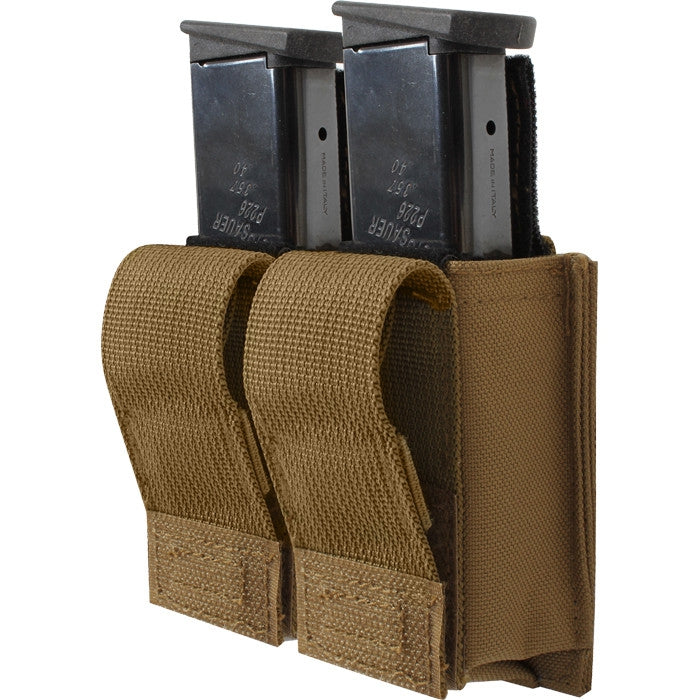 Coyote Brown - Tactical MOLLE Double 9MM Pistol Mag Pouch & Inserts