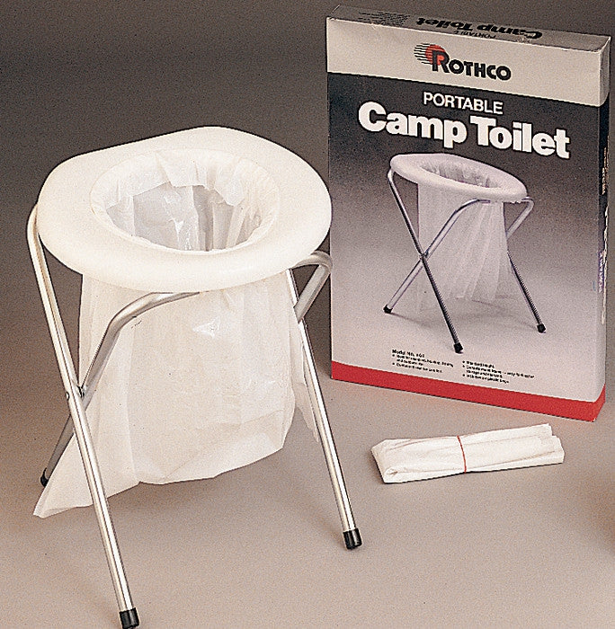 White - Portable Camp Toilet Camping Commode with Bags