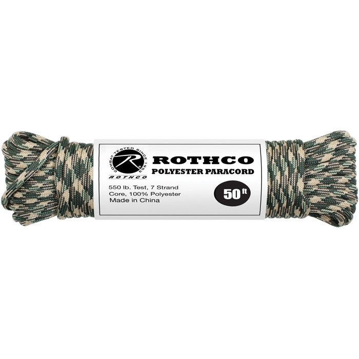 Woodland Camouflage - Polyester 550 LB Tested 50 Feet Paracord Rope