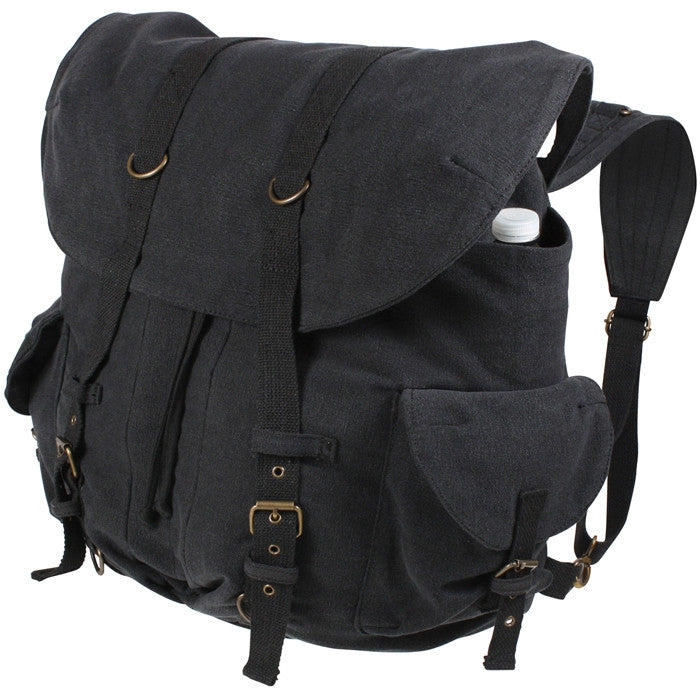 Black - Vintage Weekender Front Strap Backpack