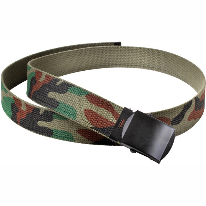 Woodland Camouflage - Military Web Belt with Black Buckle