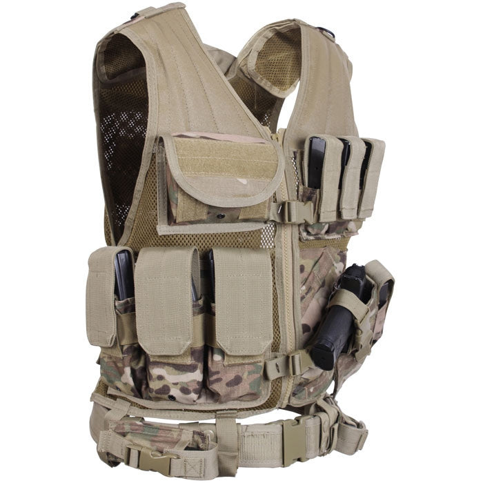 Multicam Camouflage - MOLLE Compatible Cross Draw Tactical Vest