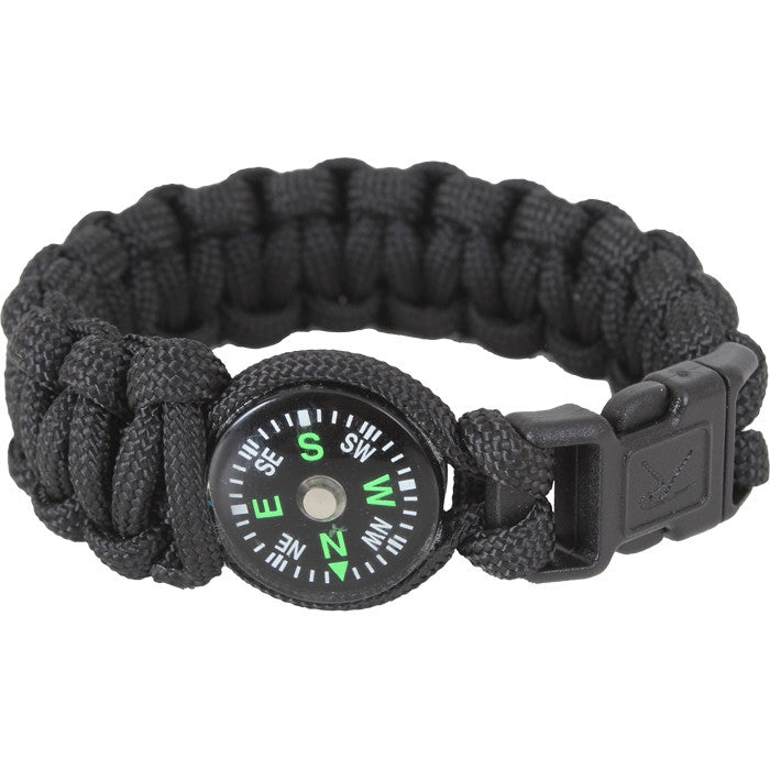 Black - Cobra Weave Compass Paracord Bracelet
