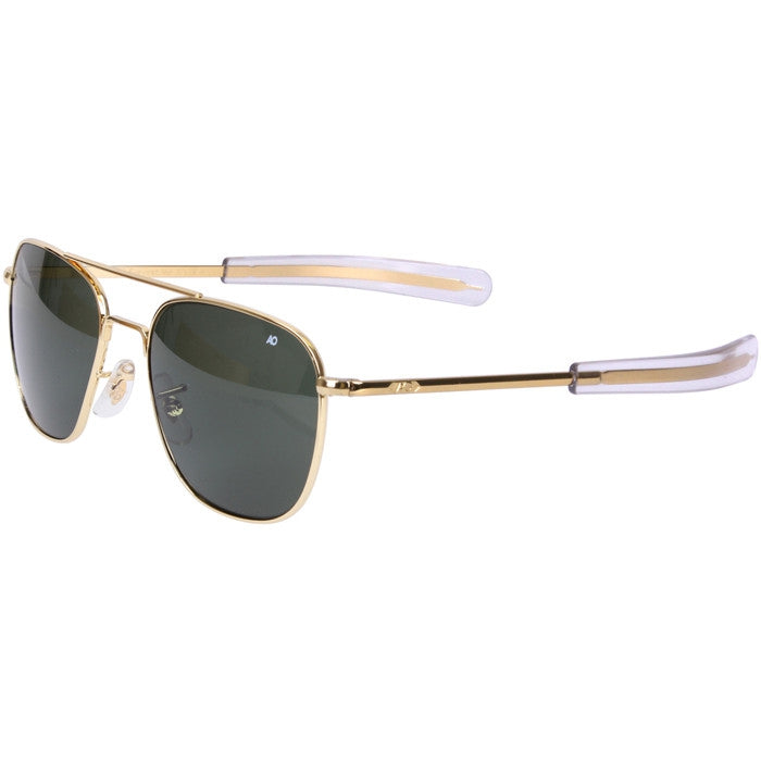 American Optics Green Lens Gold Frame - Genuine GI 55mm Air Force Pilots Sunglasses with Case - USA Made