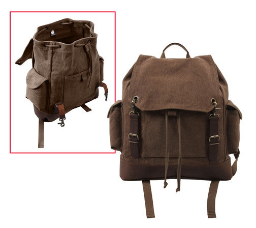Brown   Brown - Vintage Military Leather Trim Expedition Rucksack