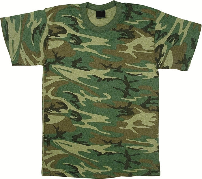 Woodland Camouflage - Heavyweight Kids Military T-Shirt