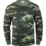 Woodland Camouflage - Cold Weather Thermal Crew Neck Shirt - Cotton Polyester