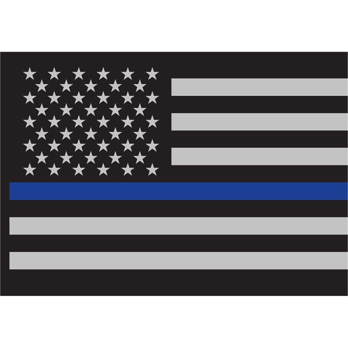 Thin Blue Line Law Enforcement Flag Sticky Back Decal (Back-Gum)