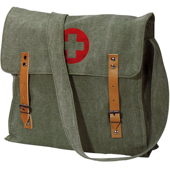 Olive Drab - Classic Medic Shoulder Bag with Red Cross Emblem