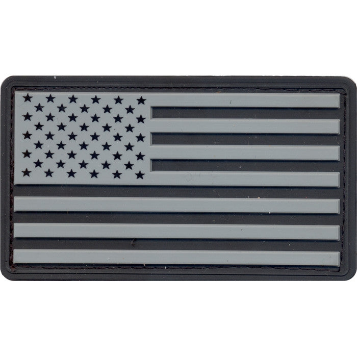 Silver   Black - PVC US Flag Patch with Hook Back