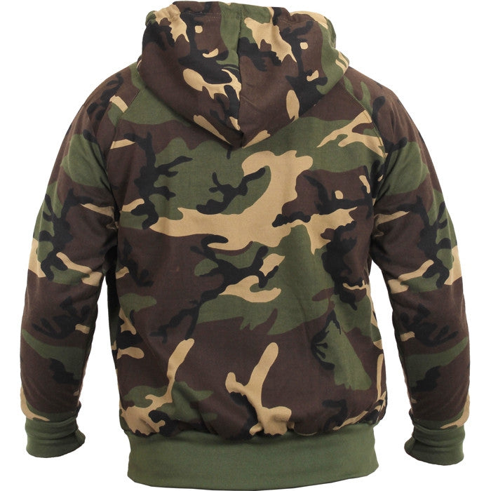 Woodland Camouflage - Thermal Lined Zipper Hooded Sweatshirt