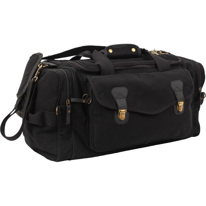 Black - Long Weekend Travel Bag with Leather Accents - Canvas