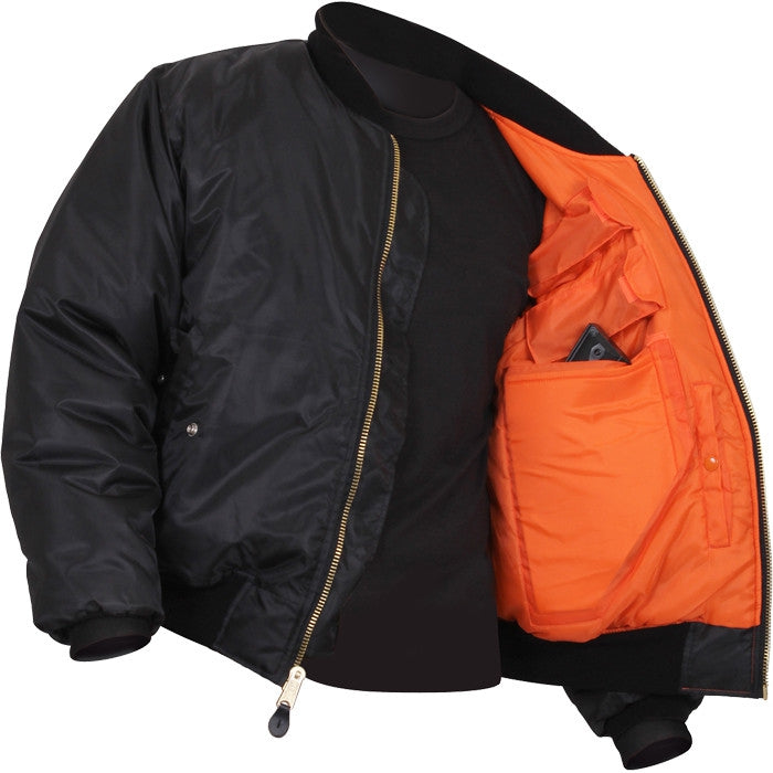 Black - Concealed Carry  Air Force MA-1 Bomber Flight Jacket