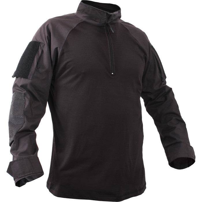 Black - Military Tactical Lightweight 1 4 Zip Flame Resistant Combat Shirt