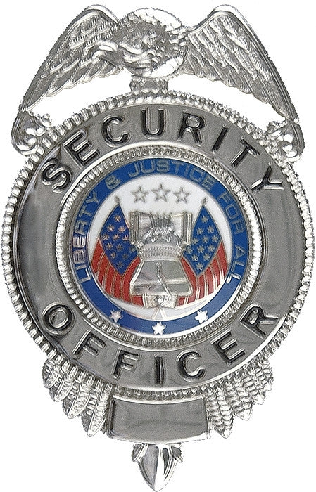 Silver - SECURITY OFFICER LIBERTY & JUSTICE Pin-on Badge