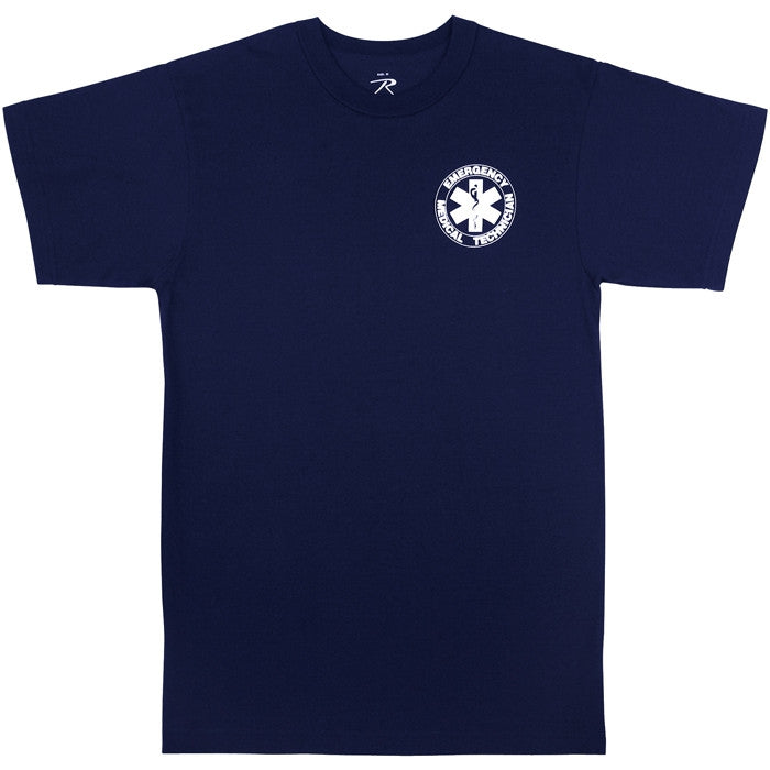 Navy Blue - Double Sided EMT Public Safety T-Shirt