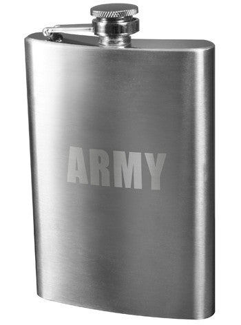 Silver - ARMY Shiny Flask - Stainless Steel
