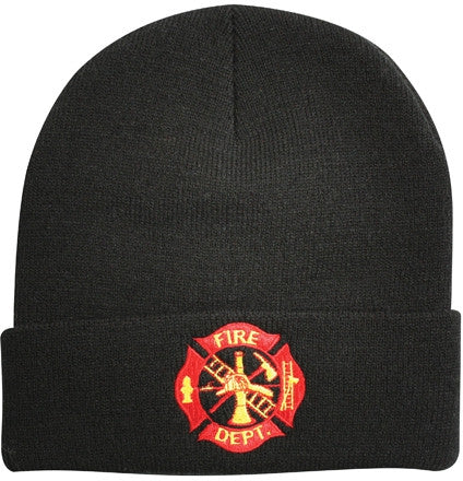 Black - Deluxe FIRE DEPT Embroidered Watch Cap with Emblem