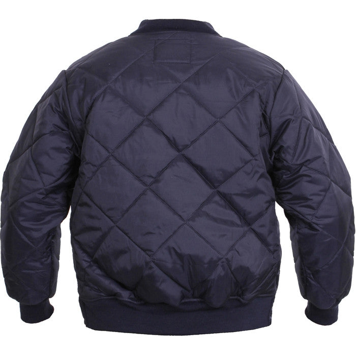 Navy Blue - Diamond Quilted Flight Jacket