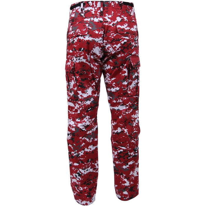 Digital Red Camouflage - Military BDU Pants - Polyester Cotton Twill