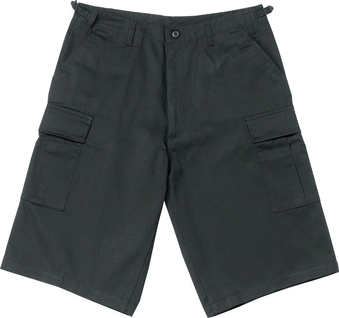Black - Military Long Cargo BDU Shorts - Polyester Cotton Twill
